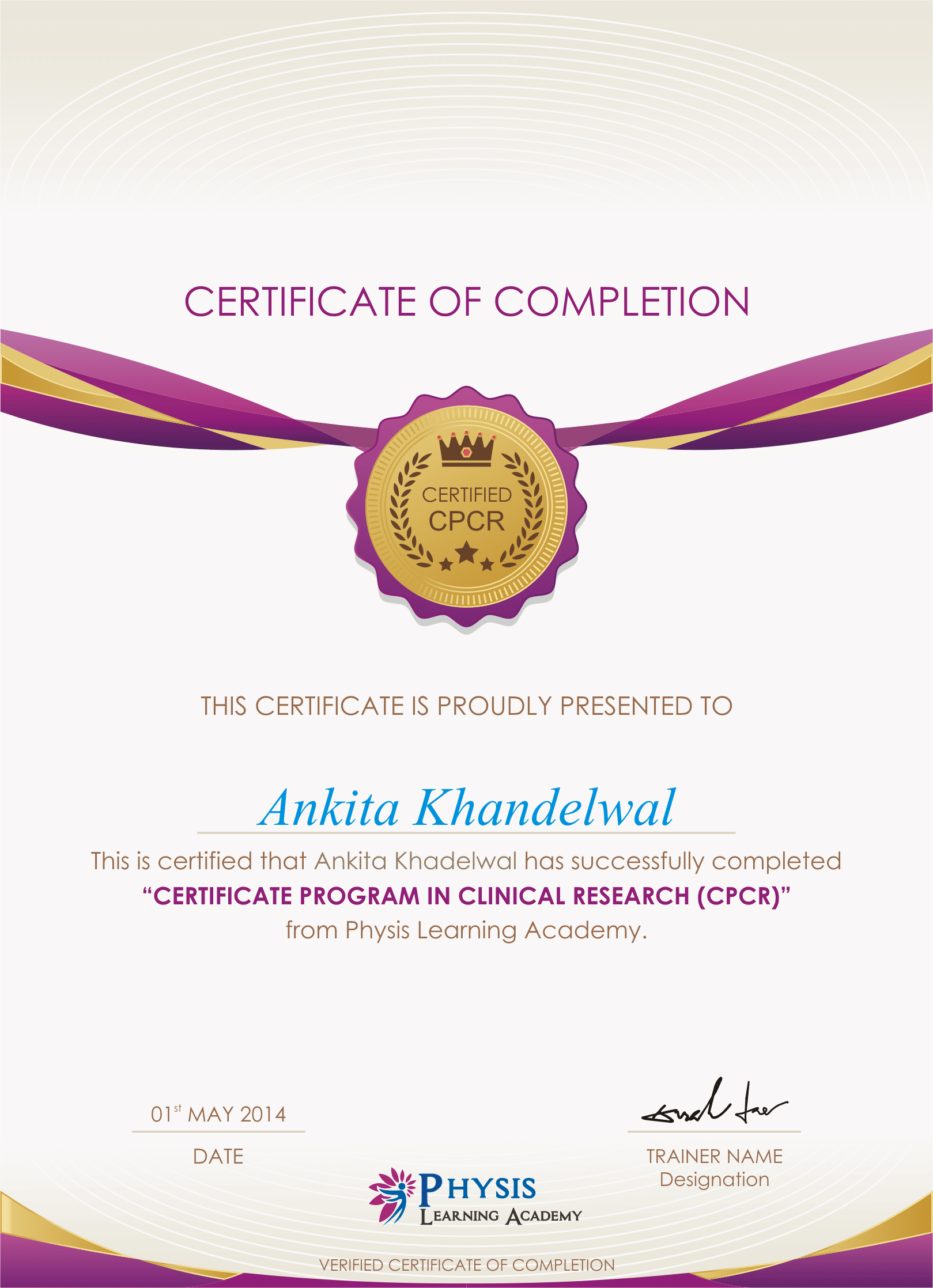 Sample Certificate Physis Learning Academy